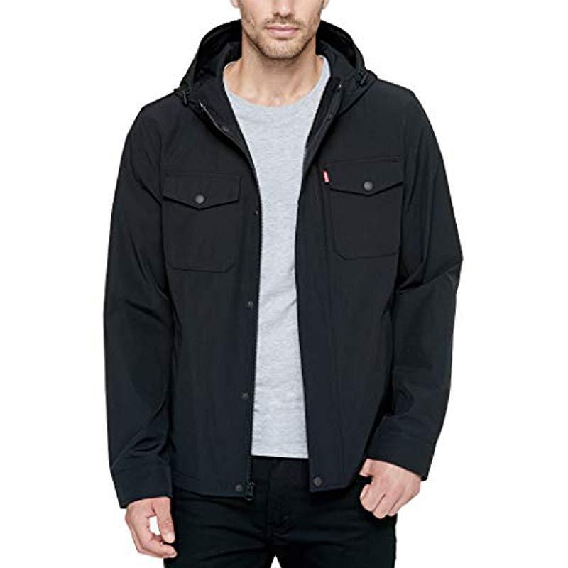 Levi's Big Arctic Cloth Hooded Rain Slicker Jacket in Black for Men