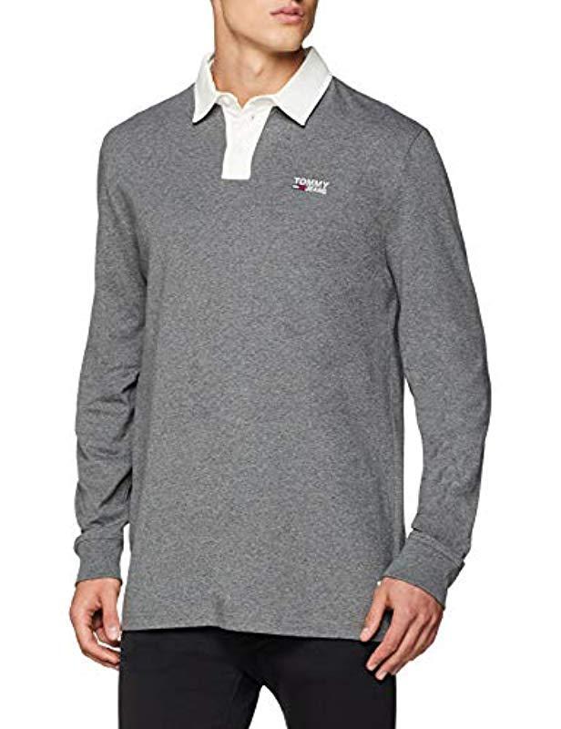 db674ef241096b Tommy Hilfiger. Men's Gray Essential Rugby Shirt Long Sleeve Polo Shirt