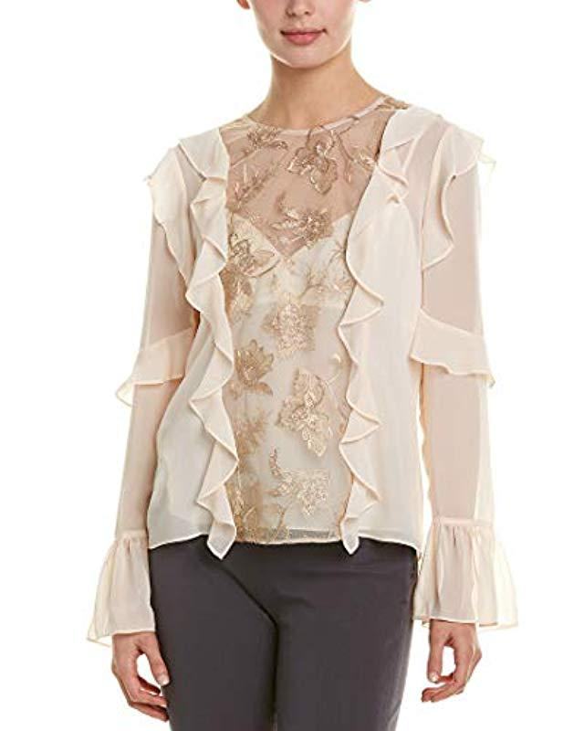 29d7721a Lyst - BCBGMAXAZRIA Sequin Embroidered Ruffle Top in Natural - Save 20%
