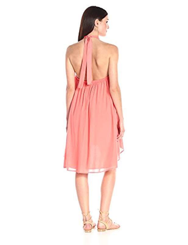 71727a8e3053e Lyst - MINKPINK Hot Scoop High-neck Halter Swing Dress in Pink