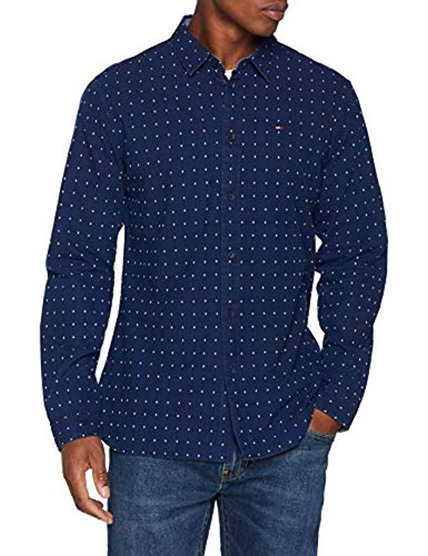 be6f67f8 Tommy Hilfiger Indigo Check Classic Shirt in Blue for Men - Save 25 ...