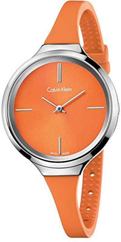 De En Cuarzo Analógico Para Correa Color Reloj Silicona Calvin Mujer Orange K4u231ym Klein Con odxeCrB