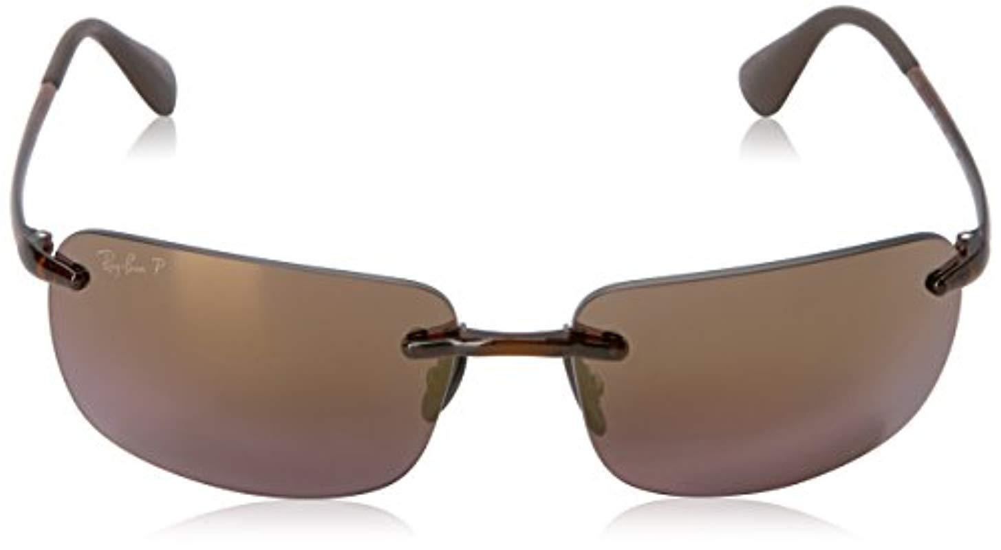 ea5e630a82 Ray-Ban Rectangle Rimless Sunglasses In Black Silver Mirror ...