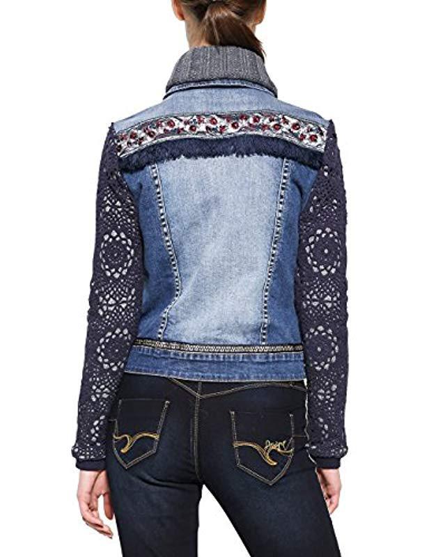 Desigual Chaq exotic Crochet Denim Jacket in Blue - Lyst 1afdba0252b9