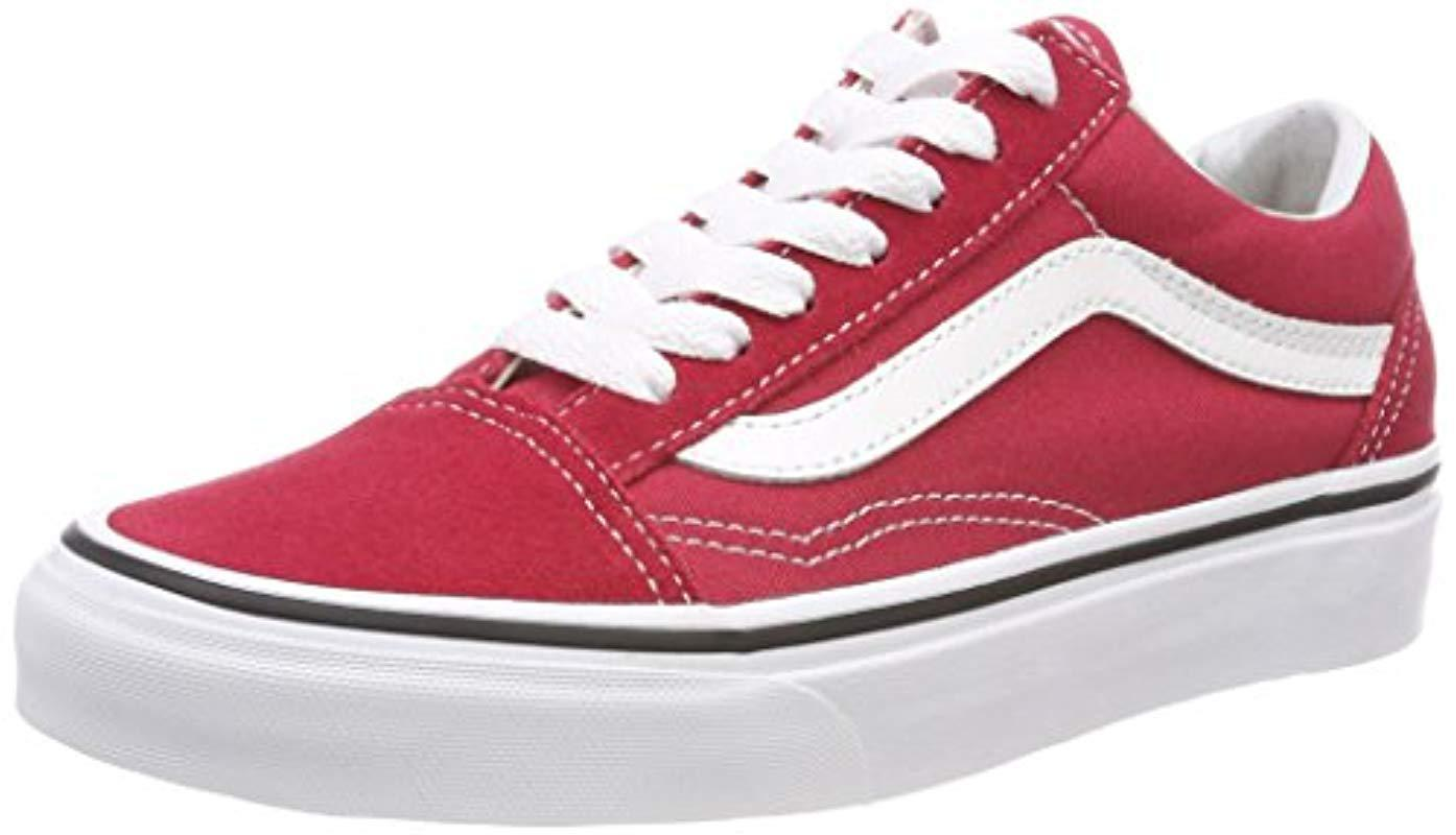 2be31dfb947169 Vans Unisex Adults  Old Skool Classic Suede canvas Sneakers in Red ...