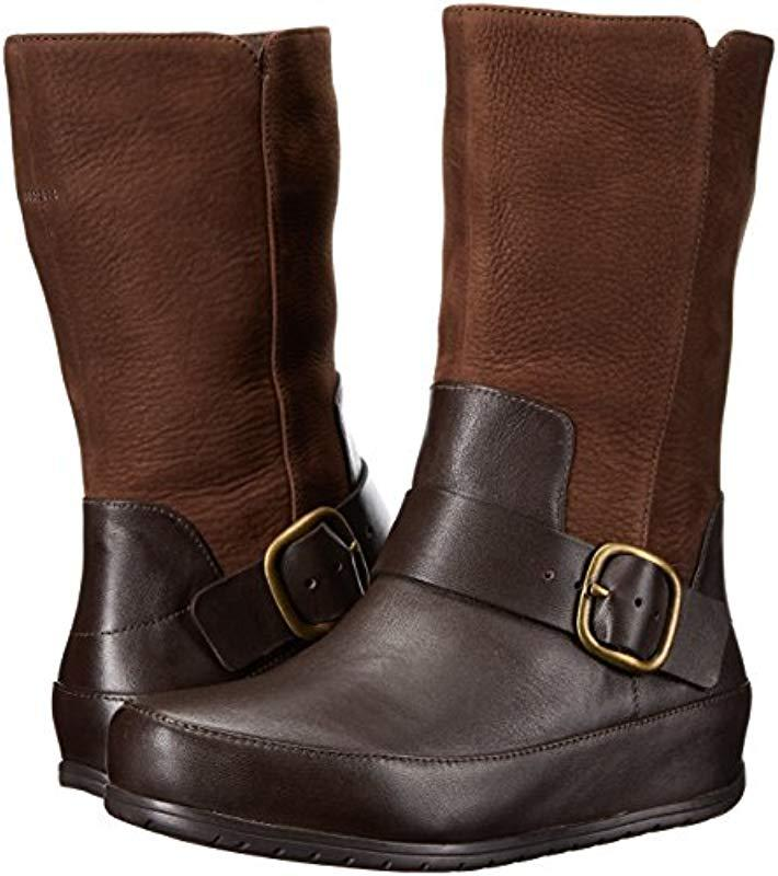 Fitflop Leather Dueboot Biker Winter Boot in Brown