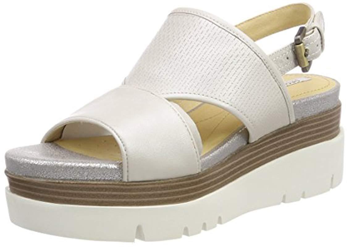 2d606deee835 Geox  s D Radwa B Platform Sandals in White - Lyst