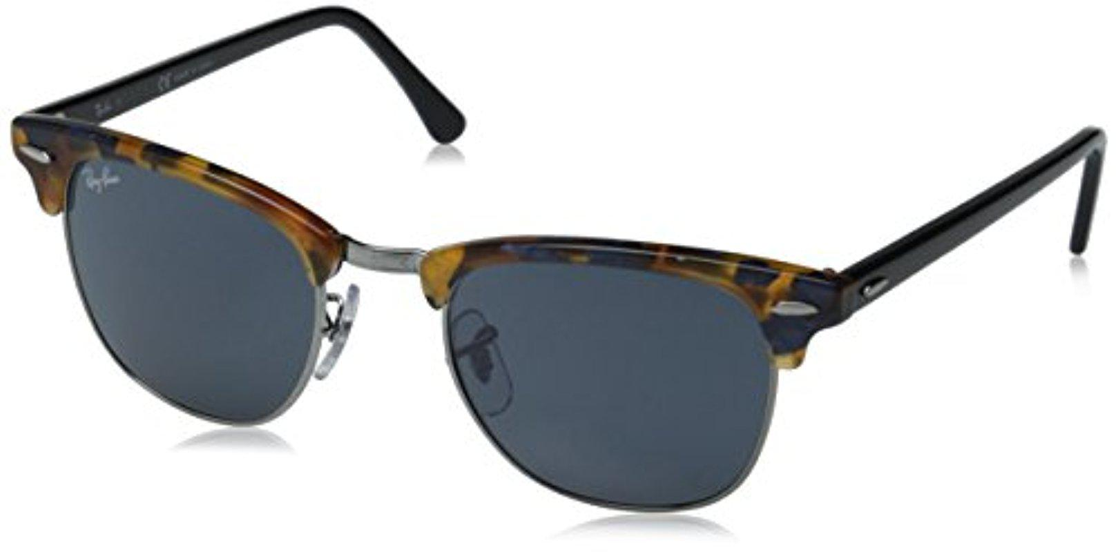Lyst - Ray-Ban Clubmaster - Spotted Blue Havana Frame Grey Lenses ...