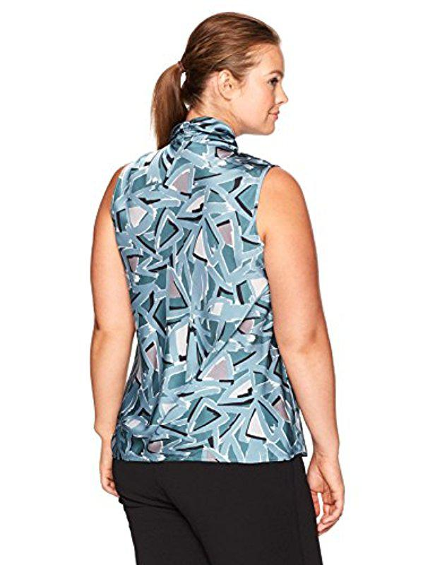 a751e02b3b6 Lyst - Nine West Plus Size Printed V Neck Bow Blouse in Blue