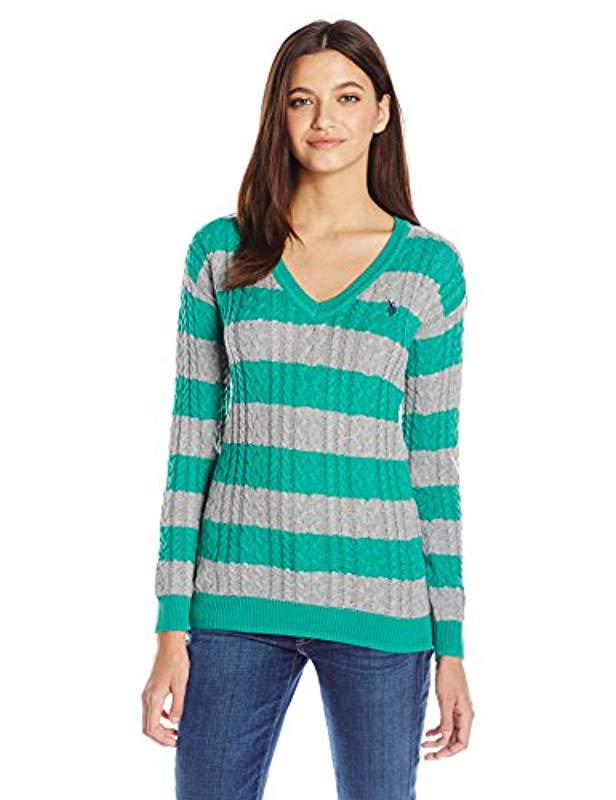 Lyst Us Polo Assn Juniors Stripe V Neck Cable Knit Sweater In Green