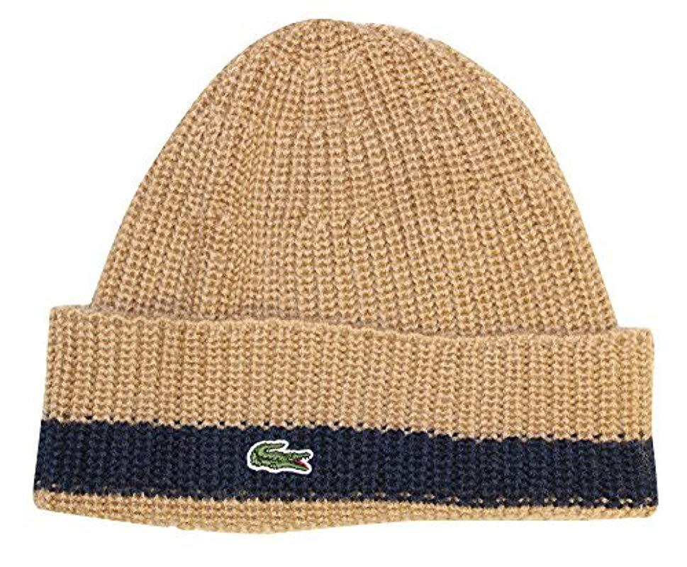 Lacoste - Blue Rib Knitted Contrast Beanie for Men - Lyst. View fullscreen 13ac472e5297