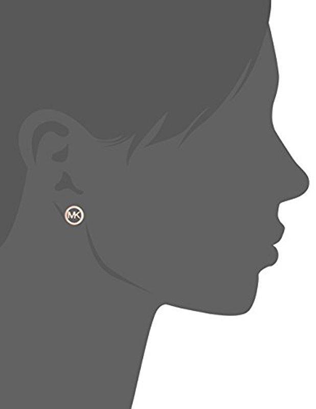 f92c9d715 Lyst - Michael Kors Logo Haute Hardware Mk Logo Stud Earrings in ...