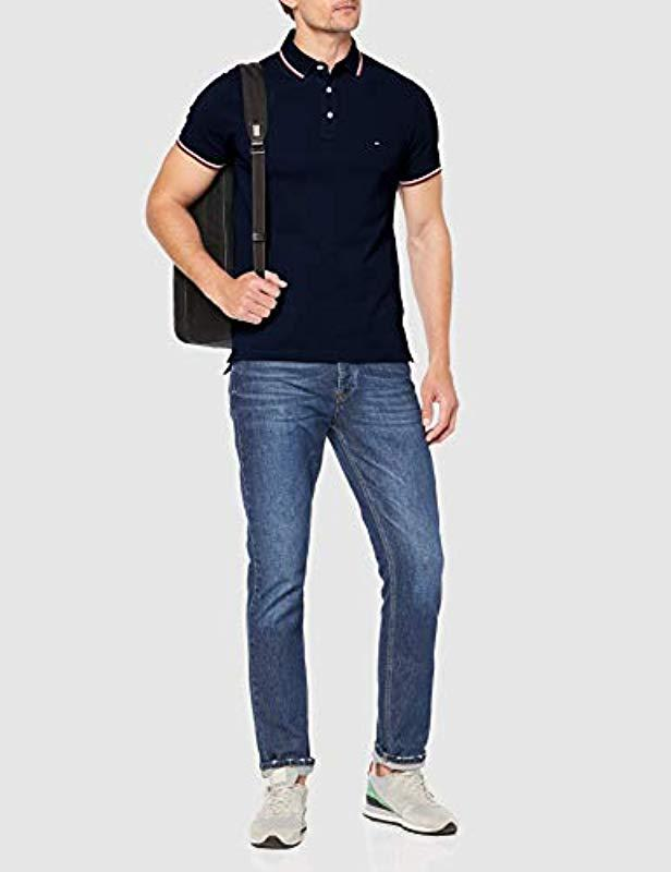 863f220d Tommy Hilfiger 's Tommy Tipped Slim Polo Shirt Dark Blue in Blue for Men -  Save 7% - Lyst