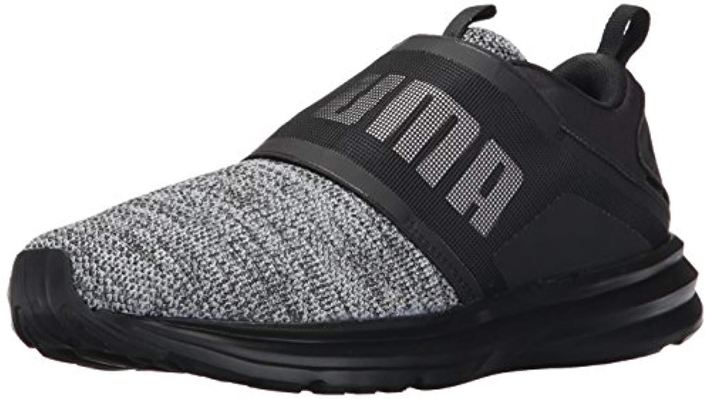 PUMA Enzo Strap Knit Sneaker in Black