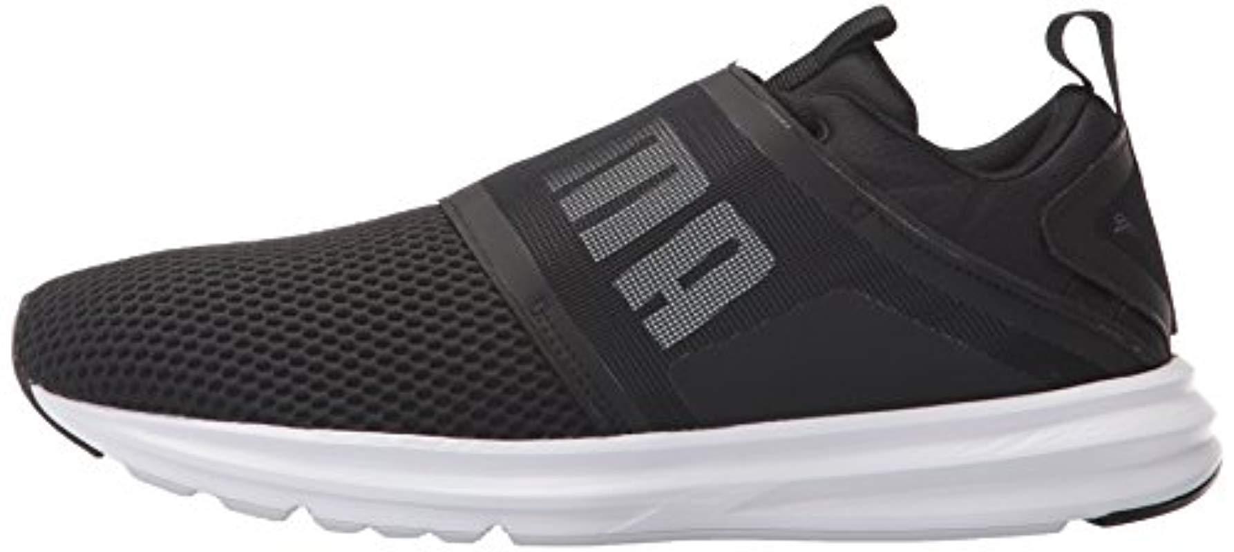 PUMA Enzo Strap Mesh Sneaker in Black