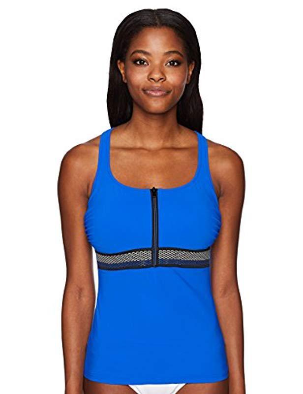 0fe31c15d2d Gottex. Women s Blue Rubberized Trim Scoop Neck D-cup Tankini Top Swimsuit