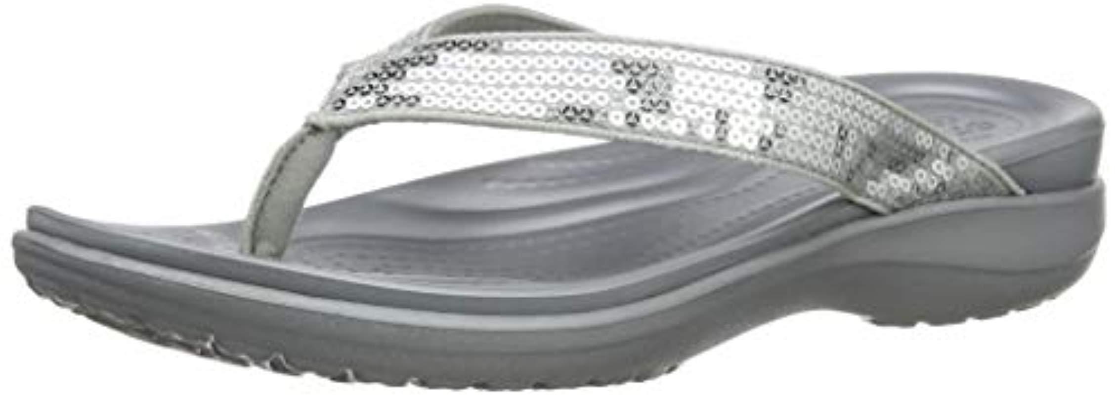 NEW Nwt Crocs Women/'s Capri V Graphic Sequin Flip Flop Shoe Sz:11