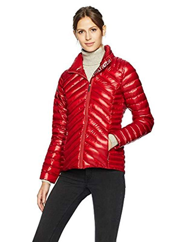 Tommy Hilfiger Womens Short Packable Down Jacket with Logo and Zipout Fleece Hood