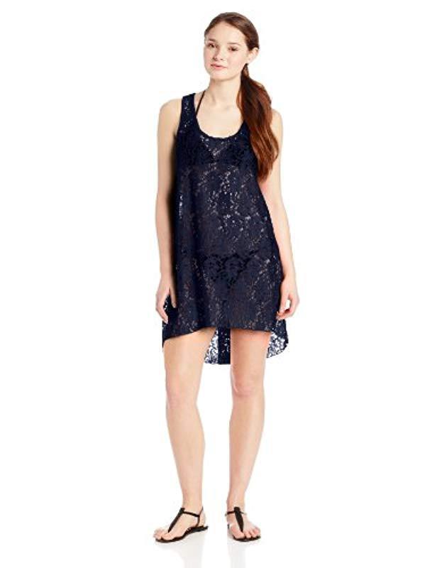 48d79197d9af4 Lyst - Gottex Crochet High Low Beach Dress Swimsuit Cover Up in Blue ...