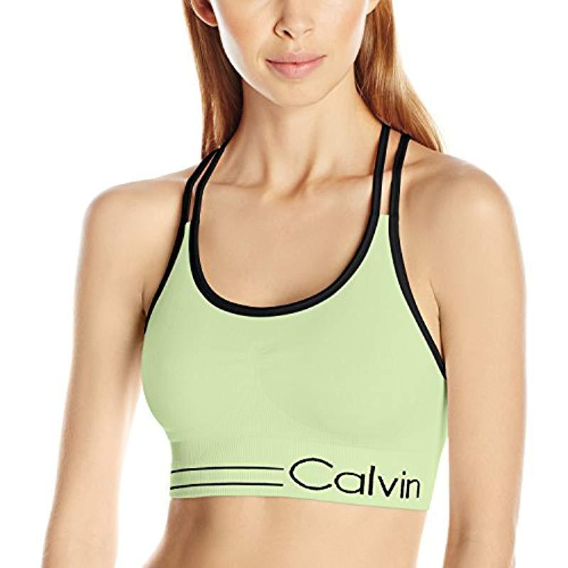 6bed85d157 Lyst - Calvin Klein Performance Long Line Strappy Bra Ruched Front ...