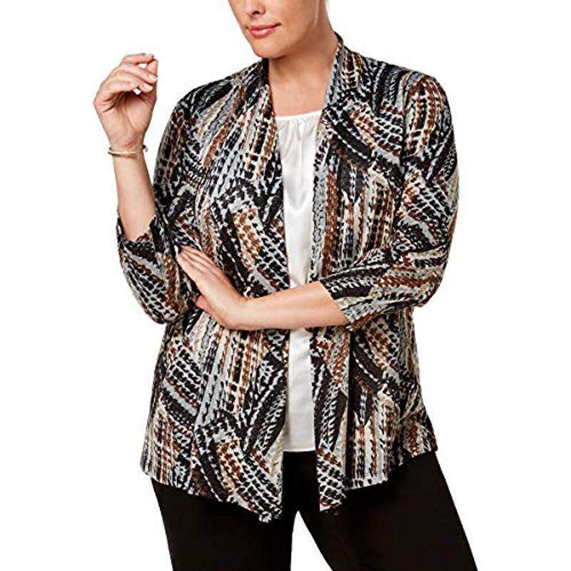 8f9880ebe0a Kasper. Women s Plus Size Abstract Printed Metallic 3 4 Sleeve Jacket