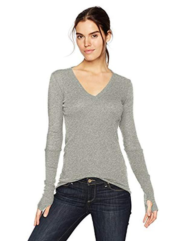 acfd97d7aca52b Enza Costa. Women s Gray Cashmere Long Sleeve Cuffed V-neck Top With  Thumbhole