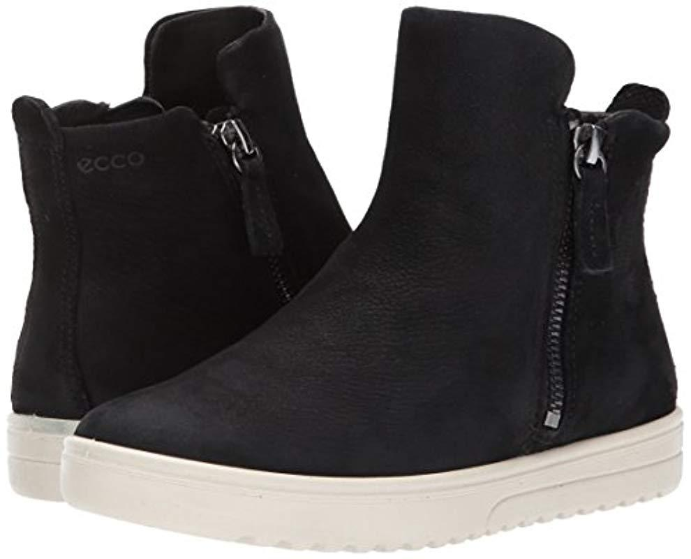 Ecco Leather Fara Zip Bootie Fashion Sneaker in Black Nubuck (Black)