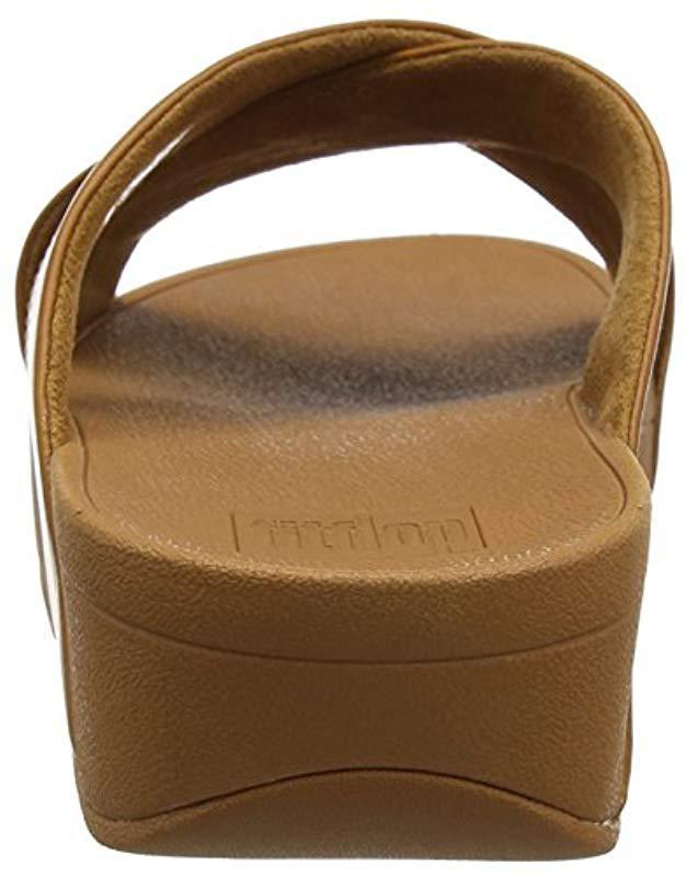 19e89edcd08f9 Fitflop  s Lulu Cross Slide Sandals - Leather Open Toe in Brown - Lyst