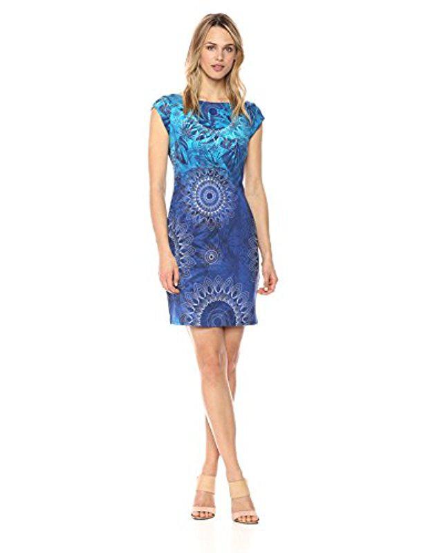 Lyst - Desigual Corbin Short Sleeve Dress in Blue