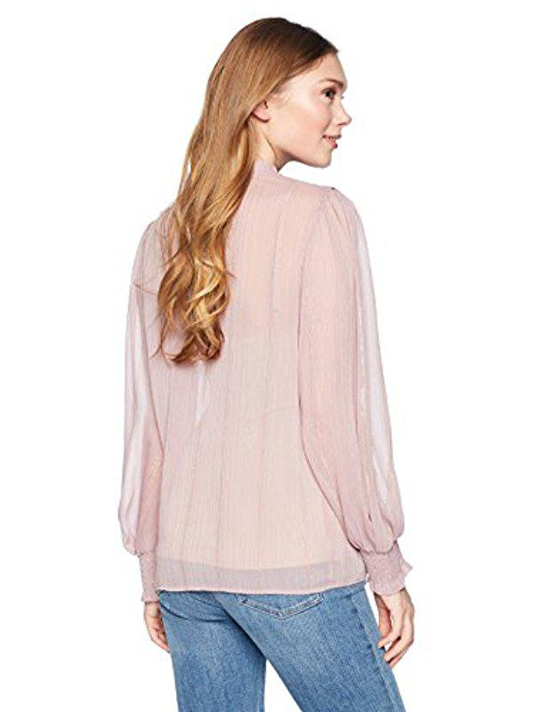 Ella Moon Womens Pilar Ruffle Collar Gathered Panel Long Smocked Cuff Top