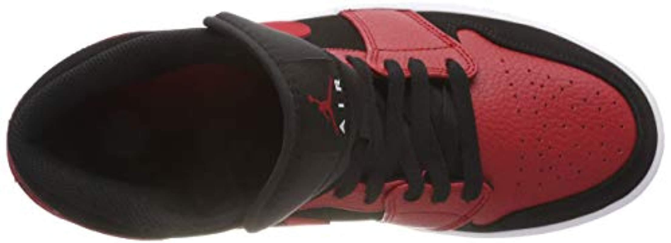 Air Jordan 1 Mid, Zapatos de Baloncesto para Hombre Nike de Cuero de color Rojo para hombre