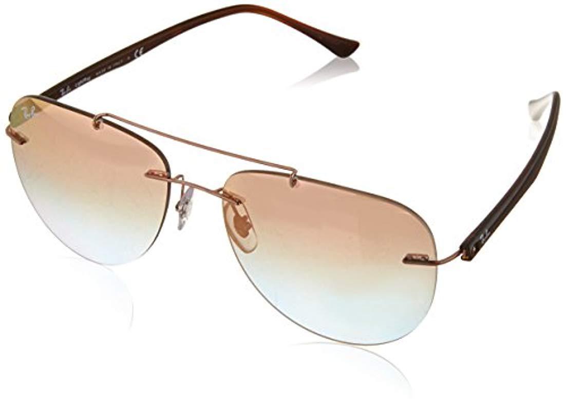 9289f312e71 Ray-Ban Double Bridge Rimless Aviator Sunglasses In Copper Brown ...