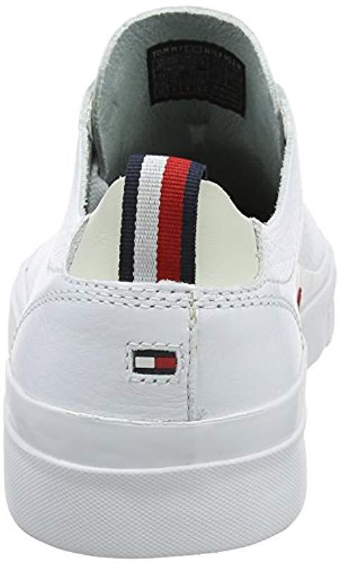fae997915 Tommy Hilfiger - White Unlined Low Cut Leather Sneaker Top for Men - Lyst.  View fullscreen
