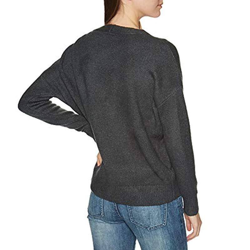 Superdry Synthetik Pullover Isabella Slouch VEE Knit Charcoal Marl in Schwarz XzOCt