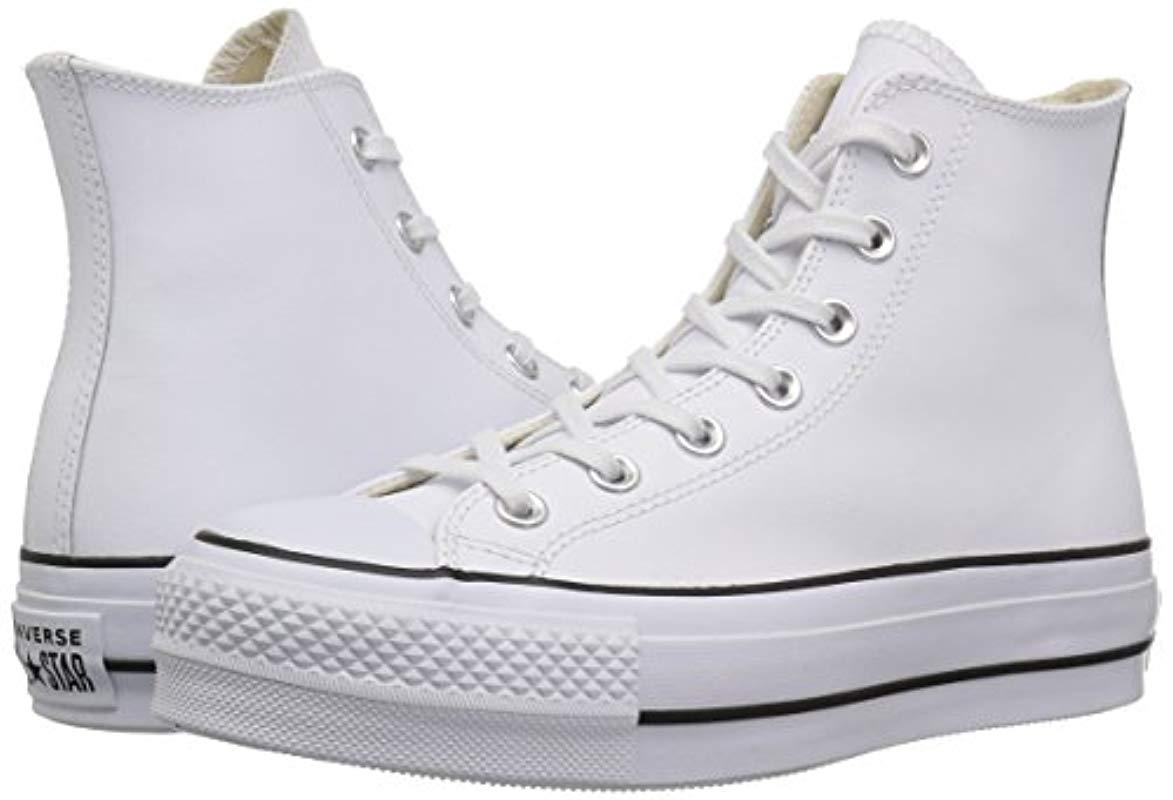 Converse Leather Ctas Lift Clean Hi Black/white Top Trainers - Lyst