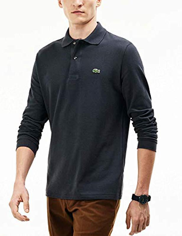 f260121e10 Lyst - Lacoste Long Sleeve Classic Pique L.12.12 Original Fit Polo Shirt in  Blue for Men