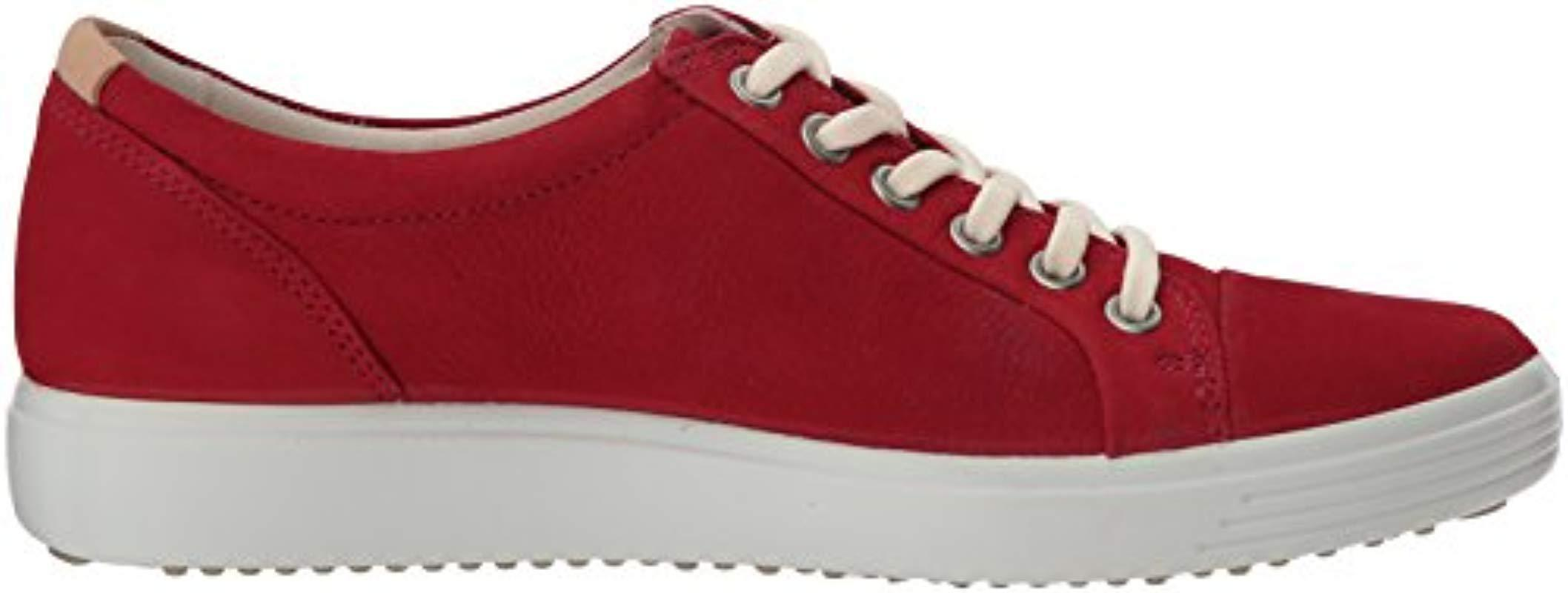 Ecco Leather Soft 7 Sneaker Fashion in Red