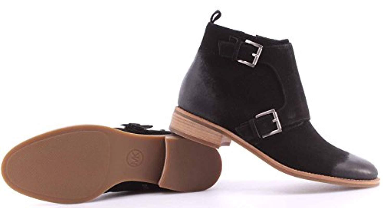 Michael Kors Shoes Ankle Boots Adams Monk Strap Bootie Suede Black New