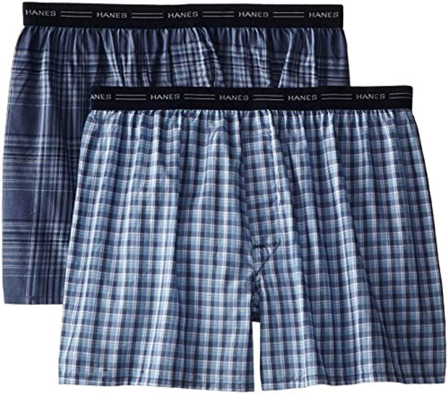 9483fd303870 Lyst - Hanes 2-pack Exposed Waistband Woven Boxers in Blue for Men ...