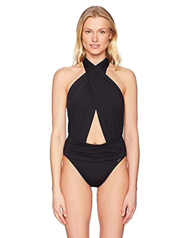 e91340962c Lyst - Vince Camuto Halter Neck One Piece Swimsuit With Shirred ...