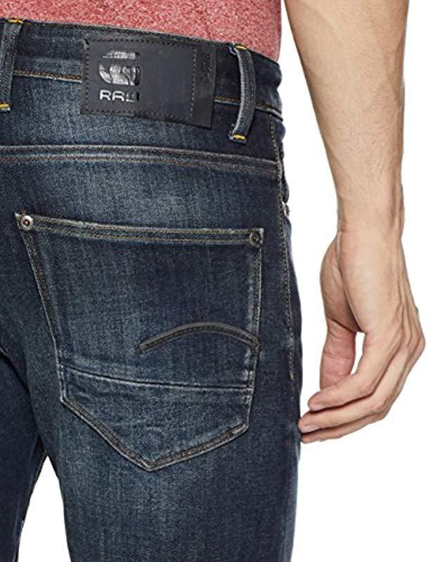 G-Star Mens Revend Straight Jeans Delm Stretch Denim DK Aged