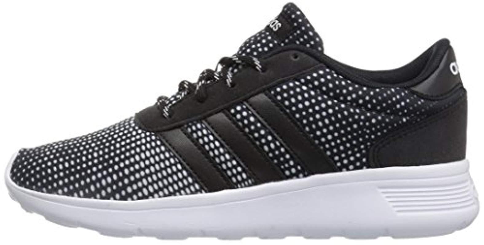 adidas Synthetic Lite Racer W Sneaker, Black/white, 5 Medium Us