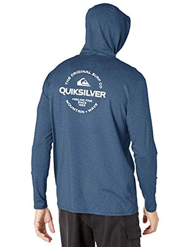 Quiksilver Mens Dredge Hooded Rashguard UPF 50 Sun Protection