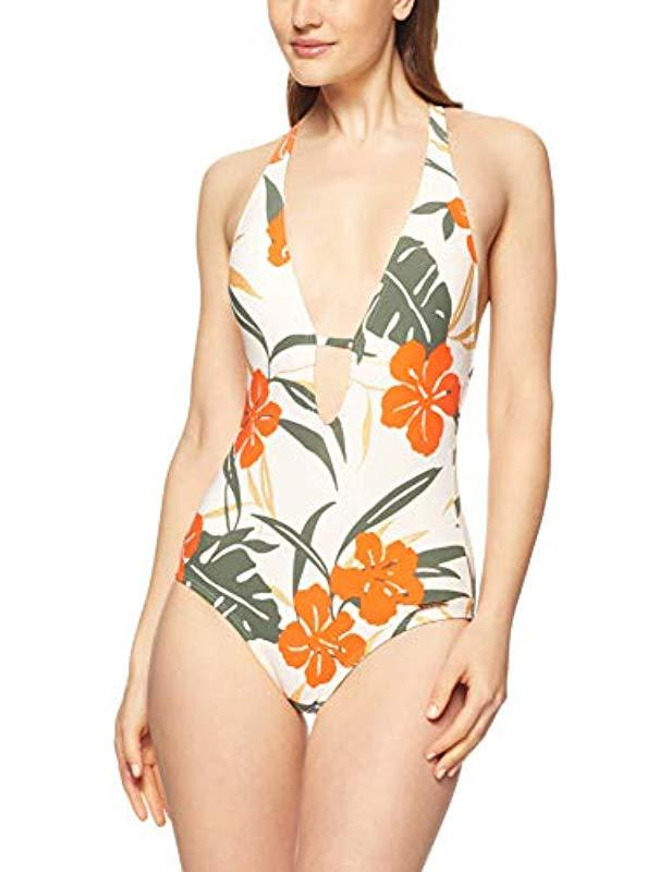 Vince Camuto Womens Plunging V-Neck One-Piece Swimsuit with Removable Soft Cups