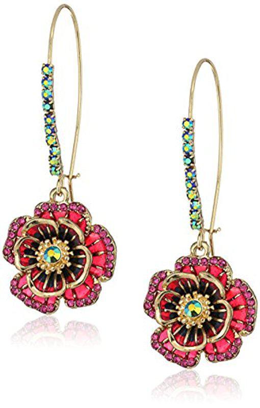 Girls Betsey Johnson Ear Ring Rose Navy Blue Anchor Charm Drop Pierced Earrings