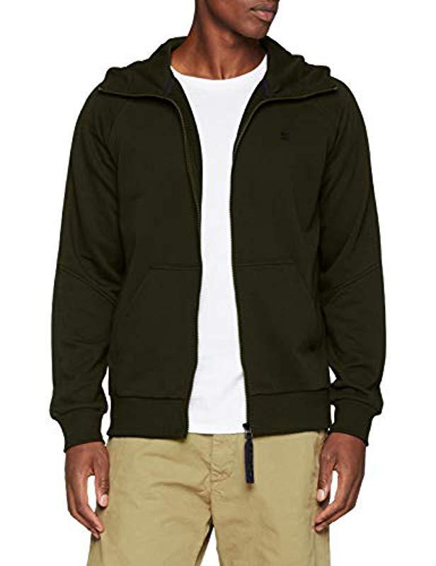 3397207d90d G-Star RAW Hooded Zip Thru Longsleeve Hoodie in Gray for Men - Lyst