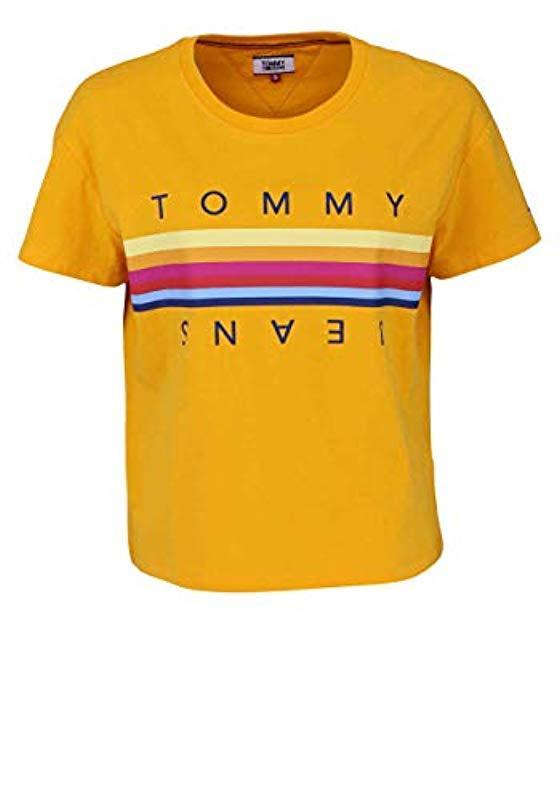747a6323 Tommy Hilfiger. Women's Yellow 's Tjw Multicolour Line Logo Tee T-shirt
