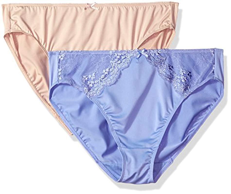 fb1c833a9b9c Ellen Tracy 2 Pack Microfiber Hi Cut Brief With Lace Panty in Blue ...