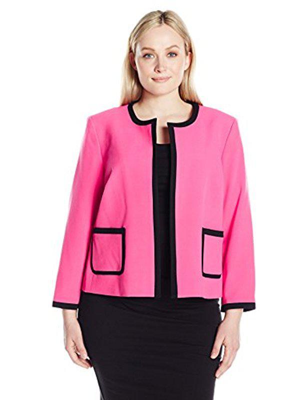 1ff86168759 Lyst - Nine West Plus Size Framed Crepe Cardigan Jacket in Pink