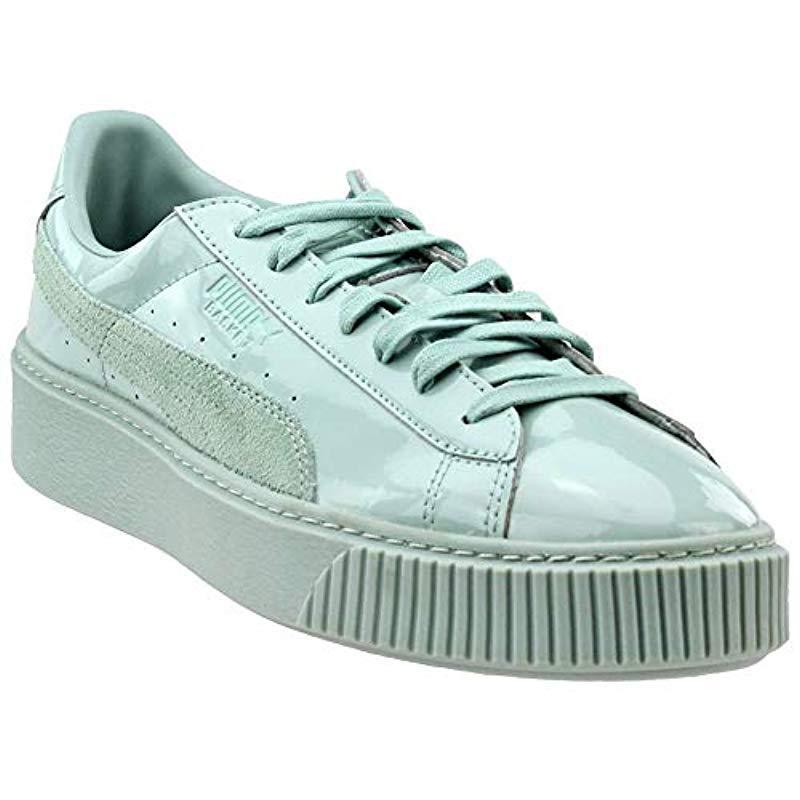 3799b3d10d54 Lyst - PUMA Basket Platform Patent Fashion Sneaker in Blue